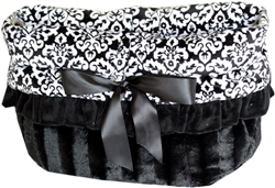 Fancy Black Reversible Snuggle Bugs Pet Bed, Bag, and Car Seat All-in-One