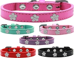 Silver Flower Widget Dog Collar