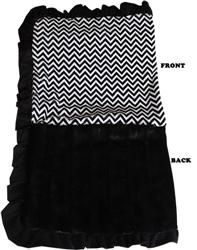 Luxurious Plush Pet Blanket Black Chevron