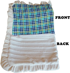 Luxurious Plush Pet Blanket Aqua Plaid