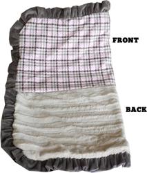 Luxurious Plush Pet Blanket Pink Plaid