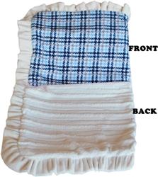 Luxurious Plush Pet Blanket Blue Plaid