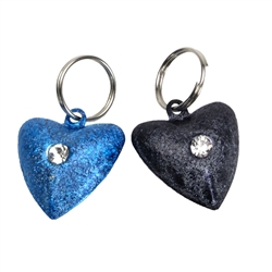 Heart-Shaped, Male Colors - Frosted Designer Cat Bells - 2 pack