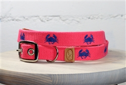 Crab Embroidered Dog Collar - Geranium Red
