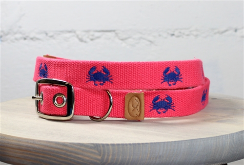 Crab Embroidered Dog Collar - Geranium Red
