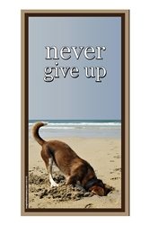 """Never Give Up"" Inspirational Wood Sign, 5"" x 10"""