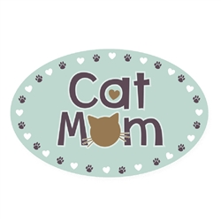 CAT Mom - Oval Magnet
