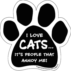 I Love Cats...People Annoy Me Car Window Decals - 2 Per Package