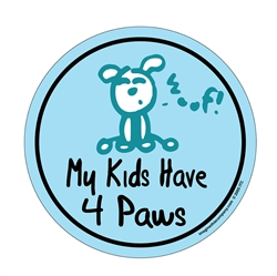 My Kids Have 4 Paws - Round Car Window Decals - 2 Per Package