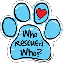 Who Rescued Who? (Blue Scribble) - Car Window Decals - 2 Per Package