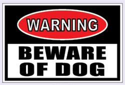 "Warning Beware of Dog Security Sign - 15"" x 10"""