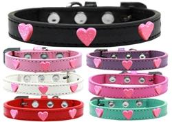 Pink Glitter Heart Widget Dog Collar