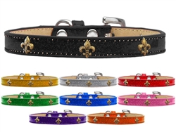 Bronze Fleur De Lis Widget Dog Collar Ice Cream