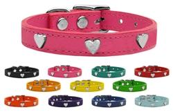 Silver Heart Widget Genuine Leather Dog Collar