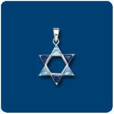 Blue CZ Star of David Charm
