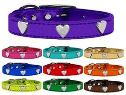 Silver Heart Widget Genuine Metallic Leather Dog Collar