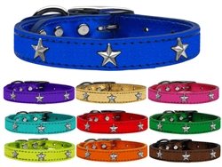 Silver Star Widget Genuine Metallic Leather Dog Collar