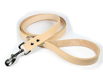 Thick Leather Dog Leash - Natural