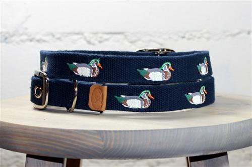 Wood Ducks Embroidered Dog Collar - Navy
