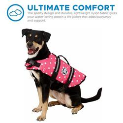 Dog Life Jacket - Pink Polka Dot Nylon Designer Dog Life Vest - Pet Preserver