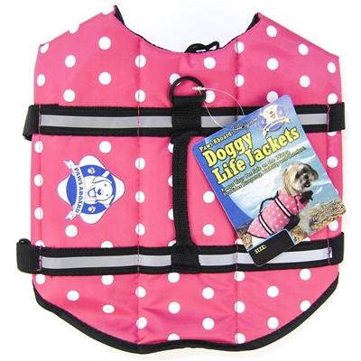 Dog Life Jacket - Pink Polka Dot Designer Life Vest - Pet Preserver