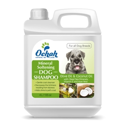 Softening - Mineral Dog Shampoo with Olive Oil, Coconut Oil, Dead Sea Minerals, Vitamin E & Aloe Vera - Gallon Jugs for Groomers