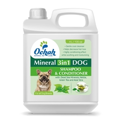3 in 1 - Mineral Dog Shampoo & Conditioner with Dead Sea Minerals, Nettle, Green Tea & Aloe Vera - Gallon Jugs for Groomers