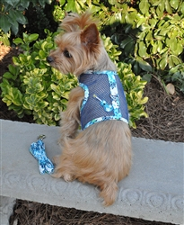 Ukelele Blue Hibiscus Cool Mesh Harness w/ Leash & D-Ring