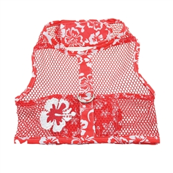 Red & White Hibiscus Flower Cool Mesh Harness w/ Leash & D-Ring