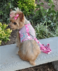 Pink & Green Hibiscus Flower Cool Mesh Harness w/ Leash & D-Ring