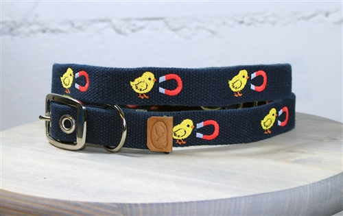 Chick Magnet Embroidered Dog Collar - Navy