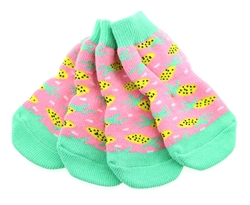 Non-Skid Dog Socks - Pineapple