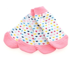 Non-Skid Dog Socks - Hearts