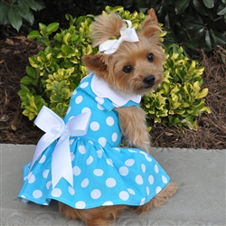 Blue Polka Dot Dress w/ Leash & D-Ring