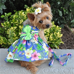 Blue Lagoon Hawaiian Hibiscus Dress w/ Leash & D-Ring