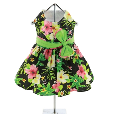 Twilight Black Hawaiian Hibiscus Dress w/ Leash & D-Ring