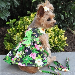 Twilight Black Hawaiian Hibiscus Dress w/ Leash & D-Ring