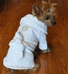White Gold Crown Bathrobe 100% Combed Cotton Terrycloth