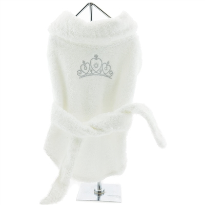 White Silver Tiara Bathrobe 100% Soft Combed Cotton Terrycloth
