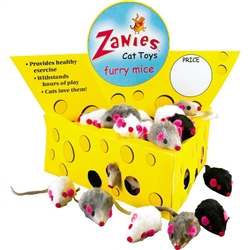 Cat Mice Toy - ZANIES FUR MICE  - Cheese Wedge Display Box 60 ct