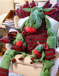 Plush Corduroy Durable Holiday Green Moose with Sweater Knotties