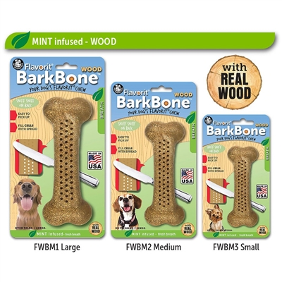 MINT Small Flavorit BarkBone Nylon Chews with Real Wood