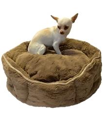 Mocha Faux Fur Shell Bed