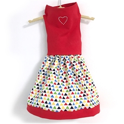 Red Top / Triangle Print Skirt