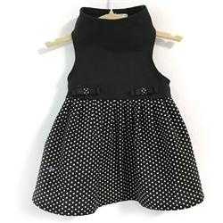Black Top with Black & White Dot Skirt