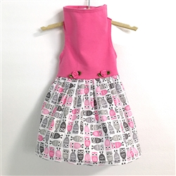 Pink Top with Owl Print Skirt