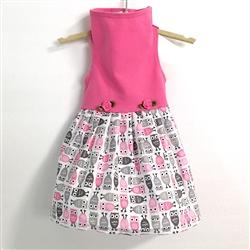 Pink Top with Owl Print Skirt