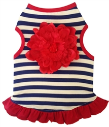 Navy & White Stripe with bold Red Flower - Tank Dress - Navy/White/Red