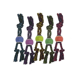 Nuts for Knots 3-Knot Rope Tugs w/ Tennis Ball - 15 inch