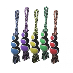 Nuts for Knots 2-Knot Rope Tug w/ 3 Tennis Balls - 18 inch
